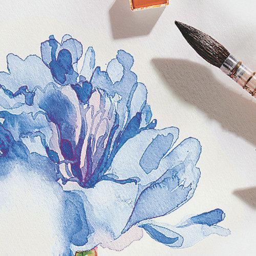 Aquarellmalerei Blaue Blume
